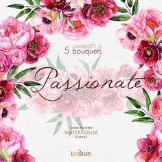 Watercolor Peonies Roses Anemones Dahlias clipart от ReachDreams