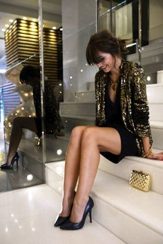 Holiday party: sequin blazer + LBD