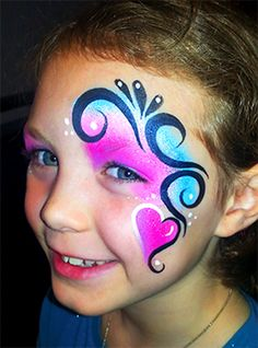 Heart-and-Swirl-Princess1.gif (742×1000) Face Paint Party, Easy Face Painting Designs, Animal Face Paintings, Face Painting Tips, Christmas Face Painting, Cheek Art, Skin Paint, Face Paint Makeup, Kids Makeup