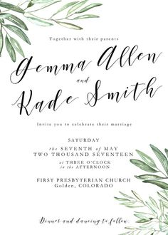 Printable Olive Leaves Wedding Invitation Suite Olive Branch