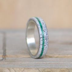 This ring is a Thin Natural Shed Elk Antler and Green Malachite Stone Inlay. Additional wood and inlay options available upon request.  We love to hear your ideas. Please message us with custom ring ideas, or if you want anything special included/changed in this ring. Remember that we do different metals for the inner band. This ring can come with either STAINLESS STEEL, TITANIUM, SILVER, YELLOW GOLD, WHITE GOLD, or ROSE GOLD  We make all our rings from handcrafted materials, and they are…