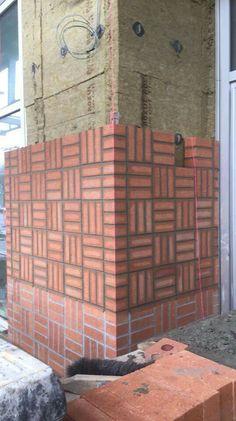 Brick Cladding, Brick Facade, Brick Art, Brick Tiles, Compound Wall Design, Exterior Tiles, Brick Works, Brick Construction, Brick Detail