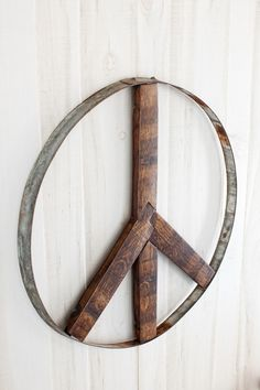 Love this peace sign made from an old wine barrel.