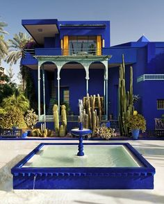 Villa Majorelle, Marrakech : In 1919, French painter Jacques Majorelle took up residence in the Medina (then a French protectorate) with which he fell in love. Fond of botany, he created a garden with a variety of different environments, planted with lush vegetation. The artist also created an ultramarine blue that was both bright & intense, known as 'Majorelle blue'. In 1980, Pierre Bergé and Yves Saint acquired the garden to save it from property developers. #ysl #marrakech #luxurytravel