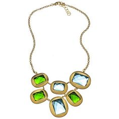 Gala Green and Blue Mosaic Statement Necklace - Polyvore