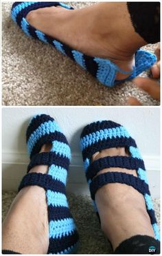 Crochet Double Strapped Slippers Free Pattern - Crochet Women Slippers Free Patterns