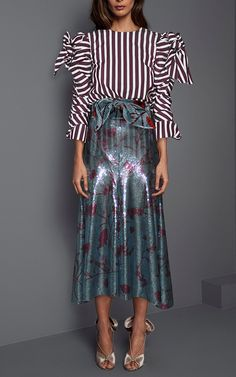 Clementina Bow Shoulder Poplin Top by JOHANNA ORTIZ for Preorder on Moda Operandi