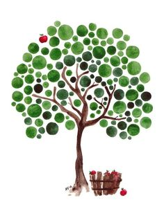 Sappho's Tree Watercolor Art Print Wall Artwork от jellybeans