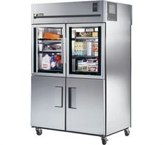 "2     Refrigerator, Pass-thru, two-section, (2) interior kits (specify), 300 series stainless steel exterior & interior, 37-5/8""D, (2) glass half & (2) stainless steel half doors front, (2) glass full doors rear, locks, exterior digital temp display, 4"" castors"