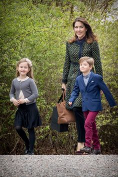 Crown Princess Mary with the twins Princess Isabella and Prince Vincent  attend the 77th birthday of Queen Margrethe on April 16, 2017