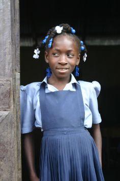 school girl in Haiti