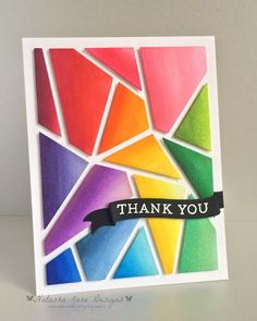 handmade thank you card: I dream in color: Abstract cover up die cut colored in rainbow ombre style . bright and beautiful . Creative Birthday Cards, Handmade Birthday Cards, Handmade Thank You Cards, Greeting Cards Handmade, Paper Cards, Diy Cards, Teachers Day Card, Karten Diy, Rainbow Card