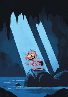 Gollum on rock with ring from 'Lord of The Rings' illustration by Chris Chatterton
