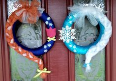Two 10 inch foam wreaths wrapped and decorated in tuell with felt and plastic accents.