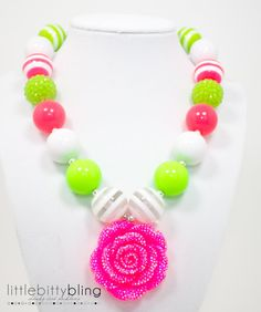 Lime Green and Pink Chunky Necklace, Girls Chunky Necklace, Girls Bubblegum Necklace, Chunky Bead Necklace, Children's Necklace