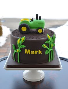 - John Deere tractor birthday cake.