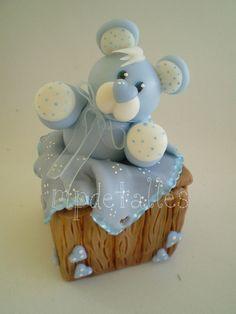 Blue teddy bear in a box #cake