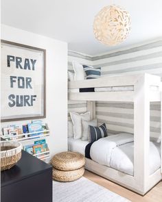 Beach kids room with bunk beds anyone 🌊? How cute 🤩🤩🤩 (via @puresaltinteriors)! Click the image to try our free home design app.  Keywords: home decor kids, creative home decorating ideas, diy home decor kids, children room design, pattern interior design, childrens furniture, bedroom design, interior design ideas bedroom, interior color scheme, home decor ideas diy, bedroom home decor, neutral interior design, open shelving, wall decor, wall art, decorative pillows, pretty home decor Bedroom Themes, Kids Bedroom, Surf Theme Bedrooms, Boys Bedroom Wallpaper, Man's Bedroom, White Bedroom, Kids Rooms, Boys Surf Room, Interior Design For Beginners