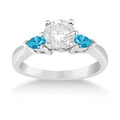 Allurez Pear Cut Three Stone Blue Topaz Engagement Ring 14k White Gold... ($940)…
