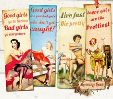 Set Of 4 Printable Bookmarks Pin Up Girls With by MorningSeed