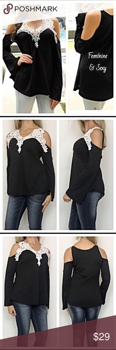 "Feminine Sexy Cold Shoulder Lace Peasant Top SML Absolutely beautiful lace collar cold shoulder peasant top in black & ivory. A mix of feminine & sexy all in one. Poly/cotton blend.   ❤️Small Bust 32-34 Length 24"" ❤️Medium Bust 34-36 Length 24.5"" ❤️Large Bust 36-38 Length 25"" ❤️XL Bust 38-40 Length 25.5"" Tops"
