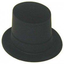 Black Velour Covered Plastic Top Hat - Nobbies