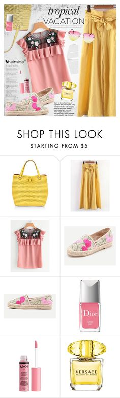 """Welcome to Paradise: Tropical Vacation"" by vanjazivadinovic ❤ liked on Polyvore featuring Karen Millen, Christian Dior, Charlotte Russe, Versace, Quay, Sheinside, stripedpants and polyvoreeditorial"