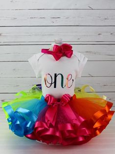 Bright Rainbow One Birthday Party Tutu Outfit - Birthday Gift for Baby Girl - Cake Smash Tutu Set - Birthday or Any Age Rainbow First Birthday, 1st Birthday Tutu, 1st Birthday Gifts, First Birthday Parties, First Birthdays, Smash Cake Girl, Baby Girl Cakes, Baby Girl Gifts, Cake Smash Photos