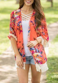 Red Floral Tassel Fringe Cardigan Boho Beach Kimono Cover Up Casual Cardigan Coat Look Kimono, Kimono Outfit, Kimono Fashion, Boho Dress, Cardigan Outfits, Summer Fashion Outfits, Casual Summer Outfits, Boho Outfits, Cute Outfits