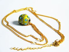 Lime Green Bead Necklace with Long Golden Chain by FlosCaeli, $21.45