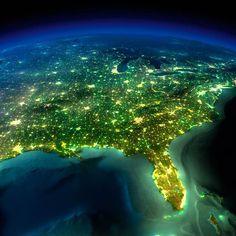 East Coast of the United States at night - NASA
