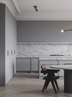 Kitchen design in grey and marble