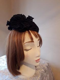 Special Occasion Wear Mini Hat Fascinator Black Silk 'fortuny' pleated headdress with pleated silk flowers and button stud. Occasion Wear, Special Occasion, Black Fascinator, Bridal Wedding Shoes, Fascinators, Black Silk, Headdress, Silk Flowers, Magenta