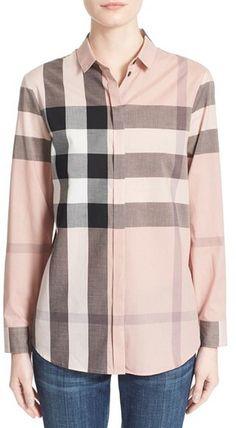Women s Burberry Check Print Cotton Shirt Burberry Shirt c5f0c38cc10de