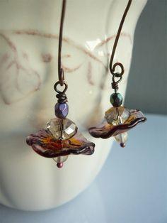 Fairy Flower Earrings Handmade Lampwork Ruffles, by Flower Earrings, Beaded Earrings, Earrings Handmade, Handmade Jewelry, Wire Jewelry, Jewelry Crafts, Beaded Jewelry, Jewelry Ideas, Jewlery