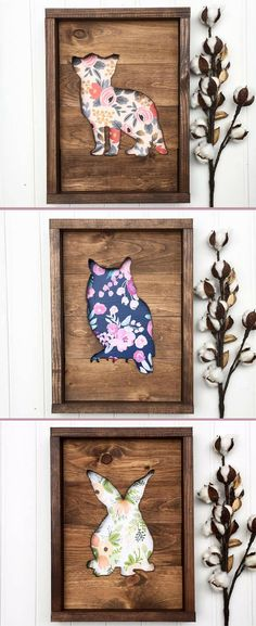This! But with boy prints in background for Atlas' playroom. Woodland nursery art, Fox sign, Owl sign, bunny rabbit sign, Nursery wooden decor, Wood sign, home decor, Animal cutout wood, Rustic Nursery decor, Baby shower gift idea, floral nursery sign #ad