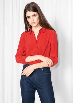 & Other Stories image 2 of Classic Silk Shirt in Red