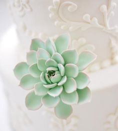 Place this lightweight handcrafted succulent on top or between layers of your wedding cake, and relax knowing it won't wilt before the reception. The leaves are individually hand formed from mint and peach polymer based clay and carefully textured to look lifelike before being grouped into a succulent. Then the finished succulent is set on floral wire and wrapped with floral tape for easy insertion.