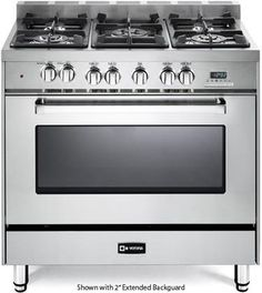 Verona 36 Inch Pro-Style Dual-Fuel Range with 5 Sealed Burners, cu. European Convection Oven, Multi Function Oven, 2 Heavy Duty Oven Racks, Digital Clock/Timer and Storage Drawer: Stainless Steel