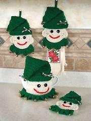 2015 Christmas crochet cozy, newest Christmas teapot knit cover, elf kitchen set Crochet Snowman, Crochet Cozy, Crochet Round, Crochet Motif, Crochet Crafts, Crochet Yarn, Crochet Projects, Knitted Christmas Decorations, Christmas Crochet Patterns