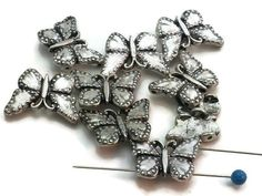Platinum Butterfly 2 hole beads m89-F1