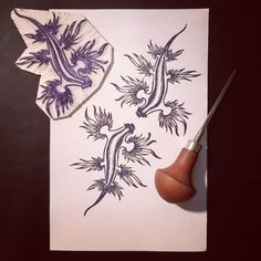 The classic-everyone-knows-them-but-they-are-wonderful sea slugs, posted on paper, getting ready to be turned into vectors for our designs. 🐗🦎 Boar and Gecko ( Blue Sea Slug, Glaucus Atlanticus, Stamp Carving, Almost Ready, Blue Dragon, Underwater World, Marine Life, Sea Creatures, Hand Carved