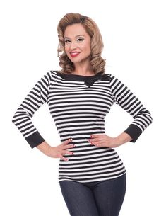 Striped Boatneck Top by Steady - in Black & White