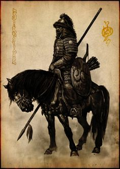 Mount and blade. Mongol warrior concept drawing. Horse warrior with spear. Archer.