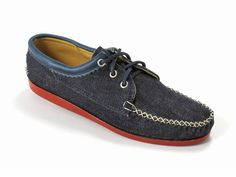 (2) Denim Blucher Shoes with a Red Brick Camp Sole - Quoddy Mens Handsewn Selvedge Denim Moccasins, Loafers & Boat Shoes - Made in Denim Picks 2013 Spring Footwear