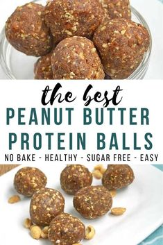 😍😍 Enjoy these tasty peanut butter protein balls as a healthy snack! They are no bake, sugar free, and so easy to make! Energy bites that are perfect for a healthy snack on busy days! No sugar, grain free cookies! Protein Snacks, Yummy Healthy Snacks, Protein Bites, Healthy Sugar, Healthy Recipes, Easy Snacks, Healthy Baking, Healthy Protein Balls, High Protein
