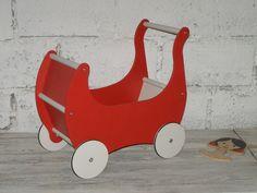 Ekologiczny drewniany wózek dla lalek +materacyk - Oloka-Gruppe - Zabawki drewniane