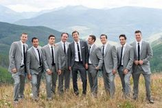 Vail Wedding Deck The arrabelle mountain wedding scenic view groom and groomsmen grey suits Dark Grey Groomsmen, Groomsmen Attire Grey, Groom Attire, Mismatched Groomsmen, Groomsmen Colours, Groomsman Attire, Groomsmen Poses, Groom Tux, Groom Suits