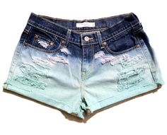 Ombre Distressed Levi's Cut Off Shorts