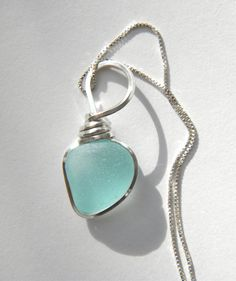 Sea Glass Necklace Soft  Blue Wire Wrapped in by OceanEdgeDesigns, $125.00